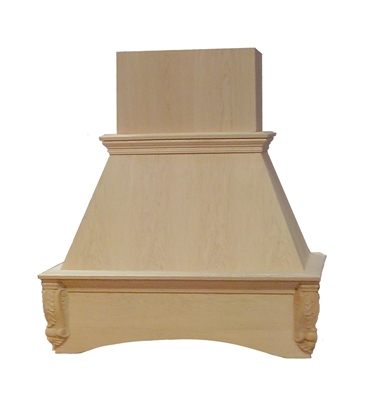 30 Quot Maple Acanthus Style Wood Chimney Hood Remodel Market