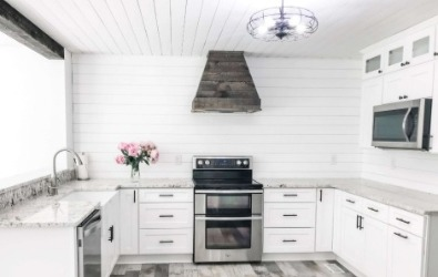 Castlewood Rustic Shiplap Chimney Range Hood (Without Chimney Extension) - Dark Gray